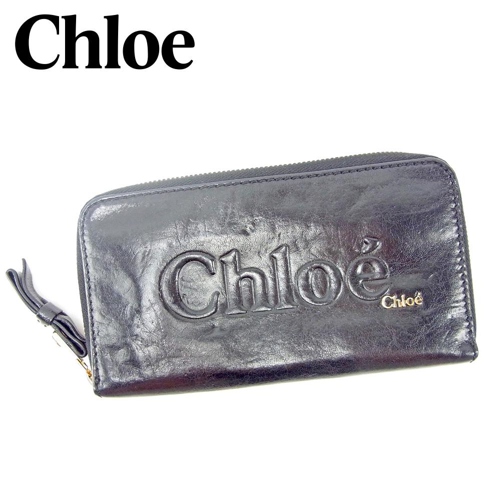 【中古】 クロエ Chloe 長財布 ラウンドファスナー レディース メンズ  ブラック レザー 人気 セール G1392