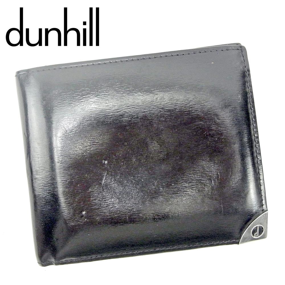 【中古】 ダンヒル dunhill 二つ折り 財布 財布 レディース メンズ  ブラック レザー 人気 セール G1403