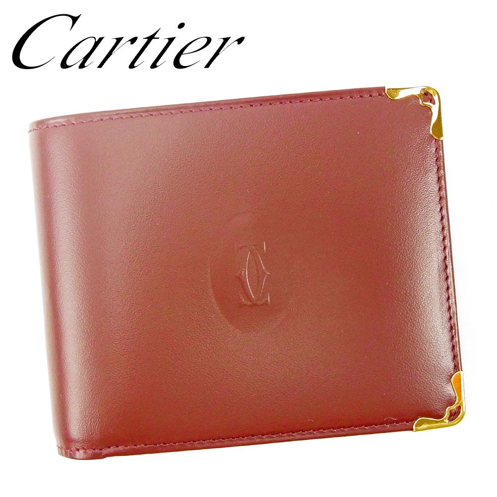 【中古】 カルティエ Cartier 二つ折り 札入れ 二つ折り 財布 レディース メンズ マストライン ボルドー レザー 超美品 セール L2735