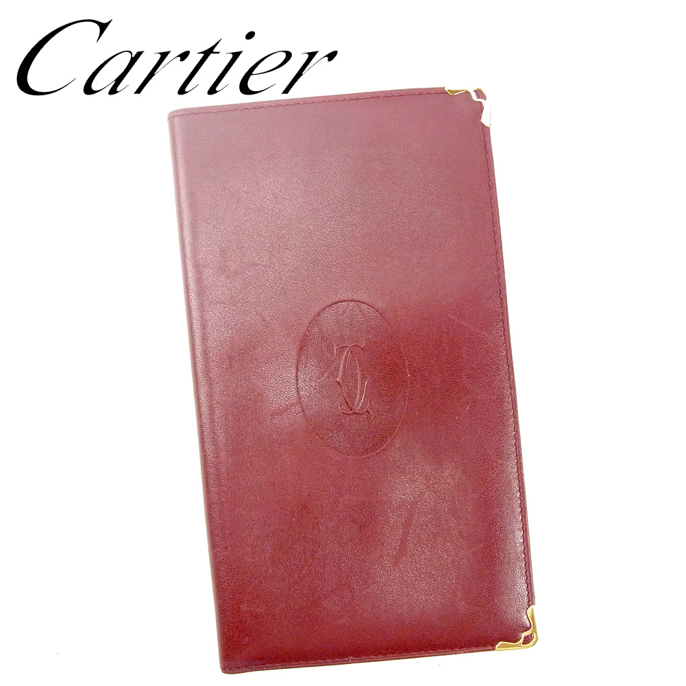【中古】 カルティエ Cartier 長札入レ 長財布 レディース メンズ ボルドー レザー L2738 .
