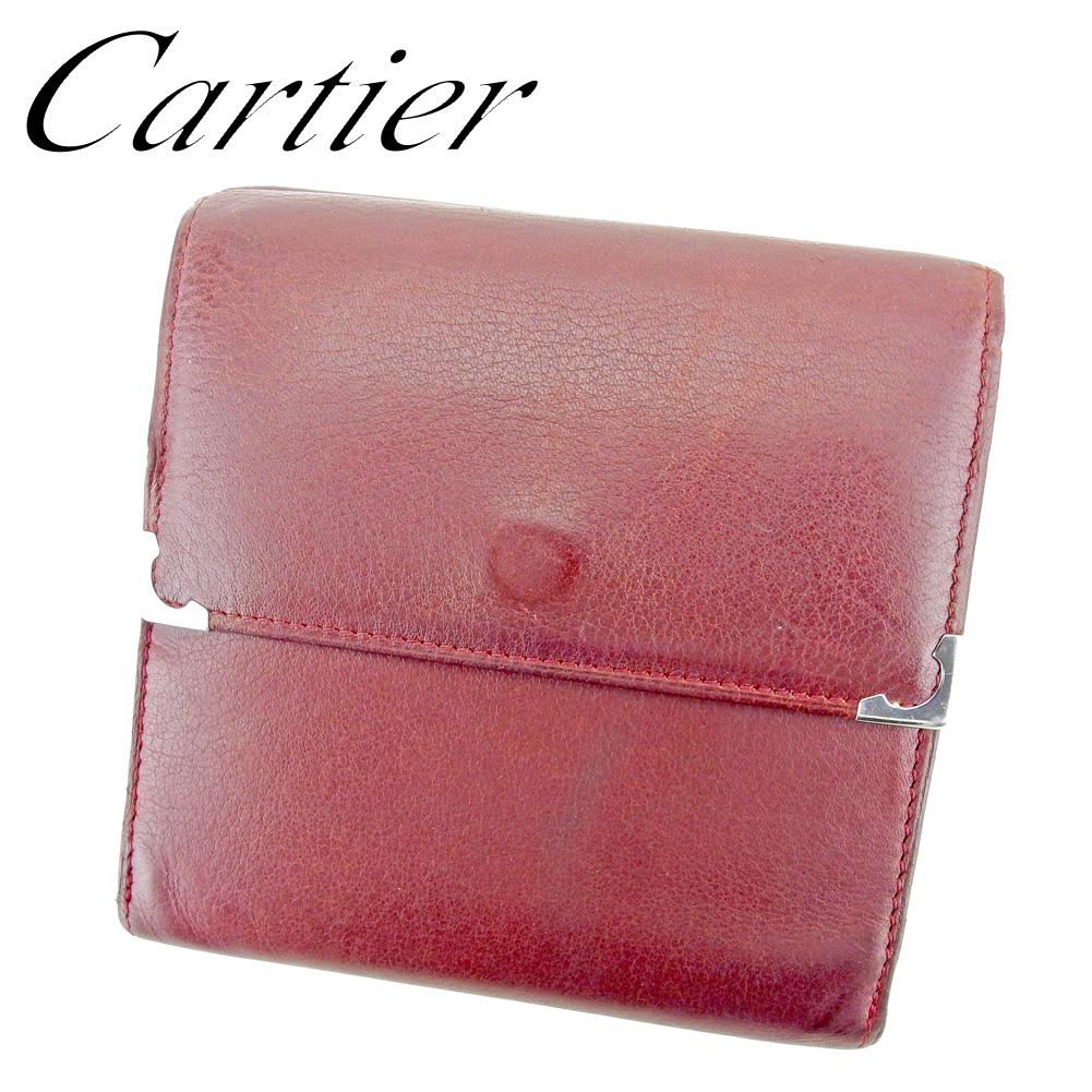 【中古】 カルティエ Cartier Wホック 財布 二つ折り 財布 レディース メンズ  ボルドー レザー 人気 セール P783