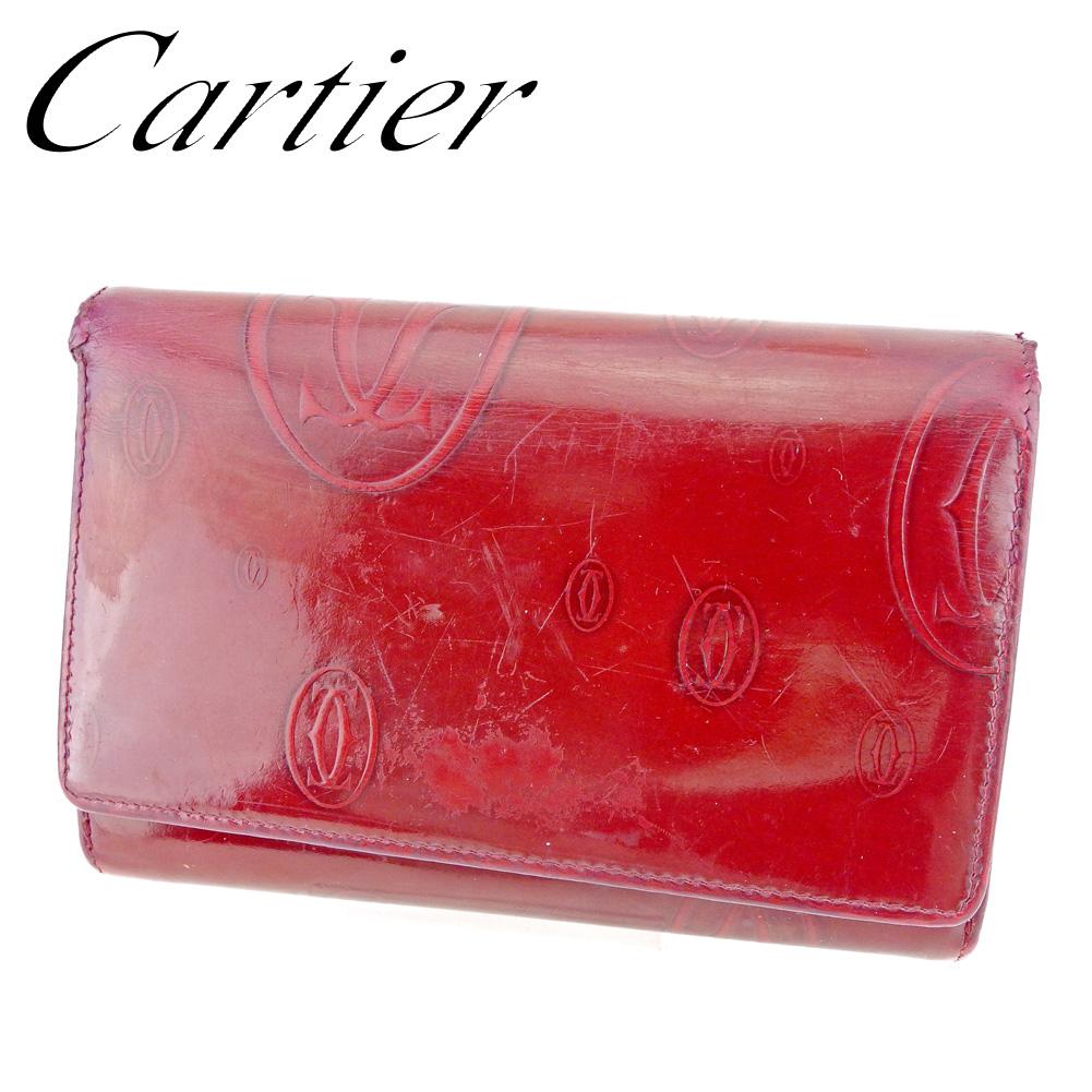 【中古】 カルティエ Cartier 二つ折り 財布 L字ファスナー レディース ハッピーバースデー ボルドー レザー 人気 セール P787