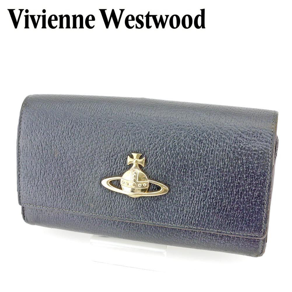 【中古】 ヴィヴィアン ウエストウッド Vivienne Westwood がま口 財布 長財布 レディース オーブ ブラック レザー 人気 セール P790