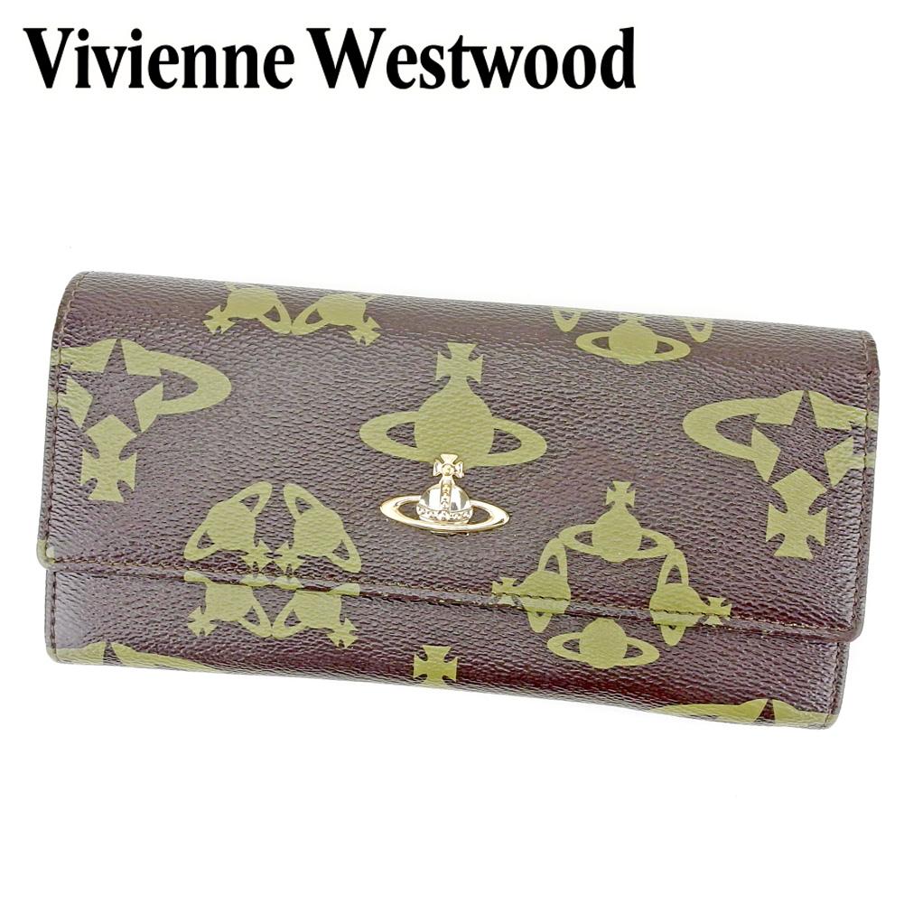【中古】 ヴィヴィアン ウエストウッド Vivienne Westwood 長財布 L字ファスナー 財布 レディース メンズ オーブ ブラウン グリーン ゴールド系 PVC×レザー 人気 セール P862