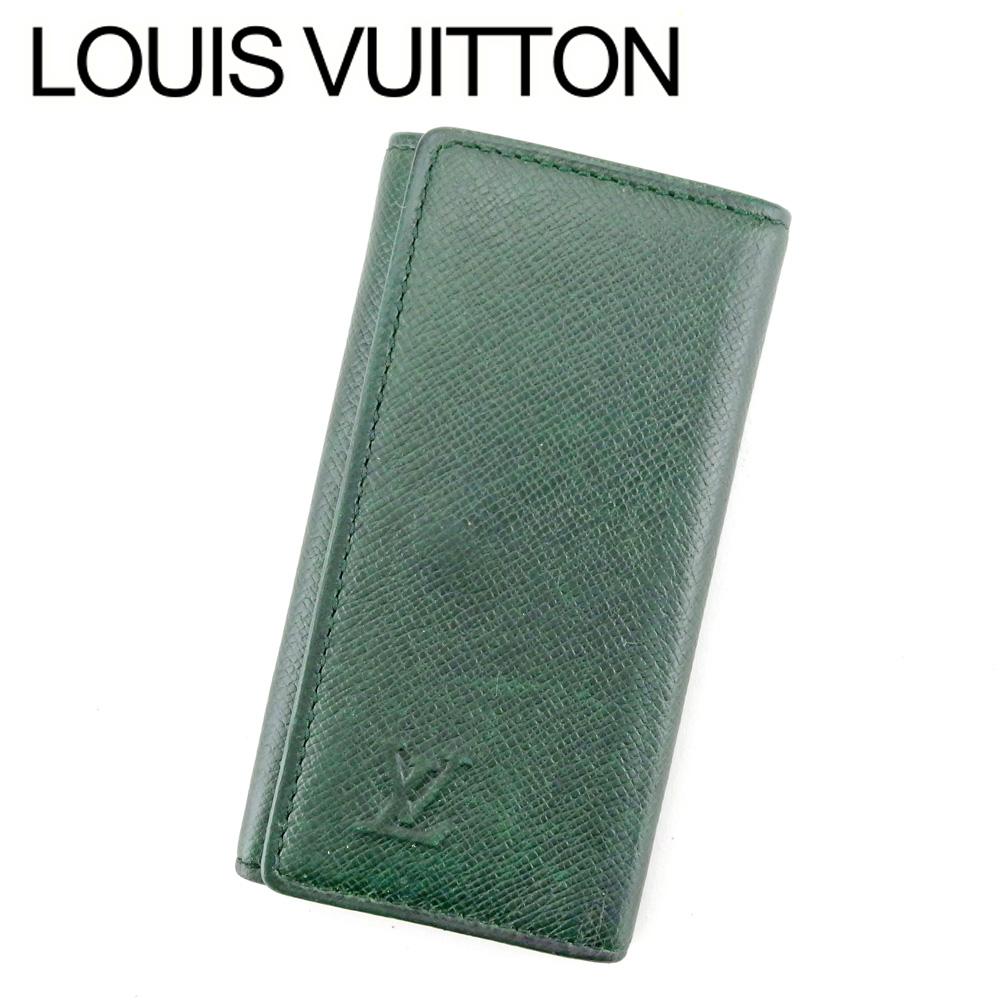 【中古】 ルイ ヴィトン Louis Vuitton キーケース 4連キーケース メンズ ミュルティクレ4 グリーン ゴールド タイガレザー P863