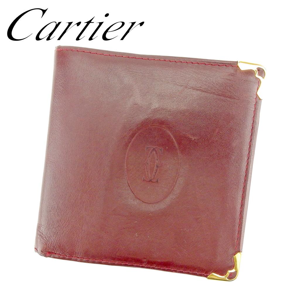 【中古】 カルティエ Cartier 二つ折り 財布 レディース メンズ マストライン ボルドー ゴールド レザー 人気 セール P868