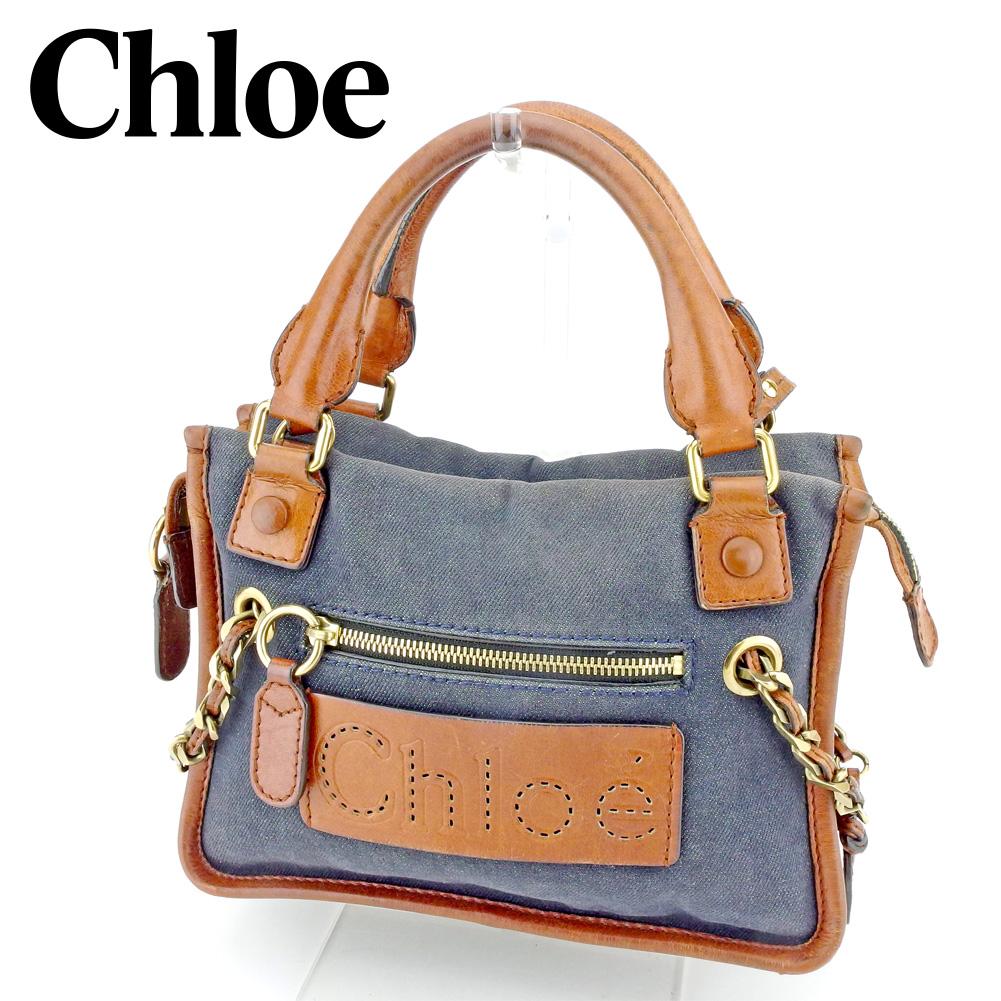 【中古】 クロエ Chloe 2WAY ショルダーバッグ ハンドバッグ レディース デニムコンビ ネイビー ブラウン ゴールド デニムキャンバス×レザー 人気 セール P871