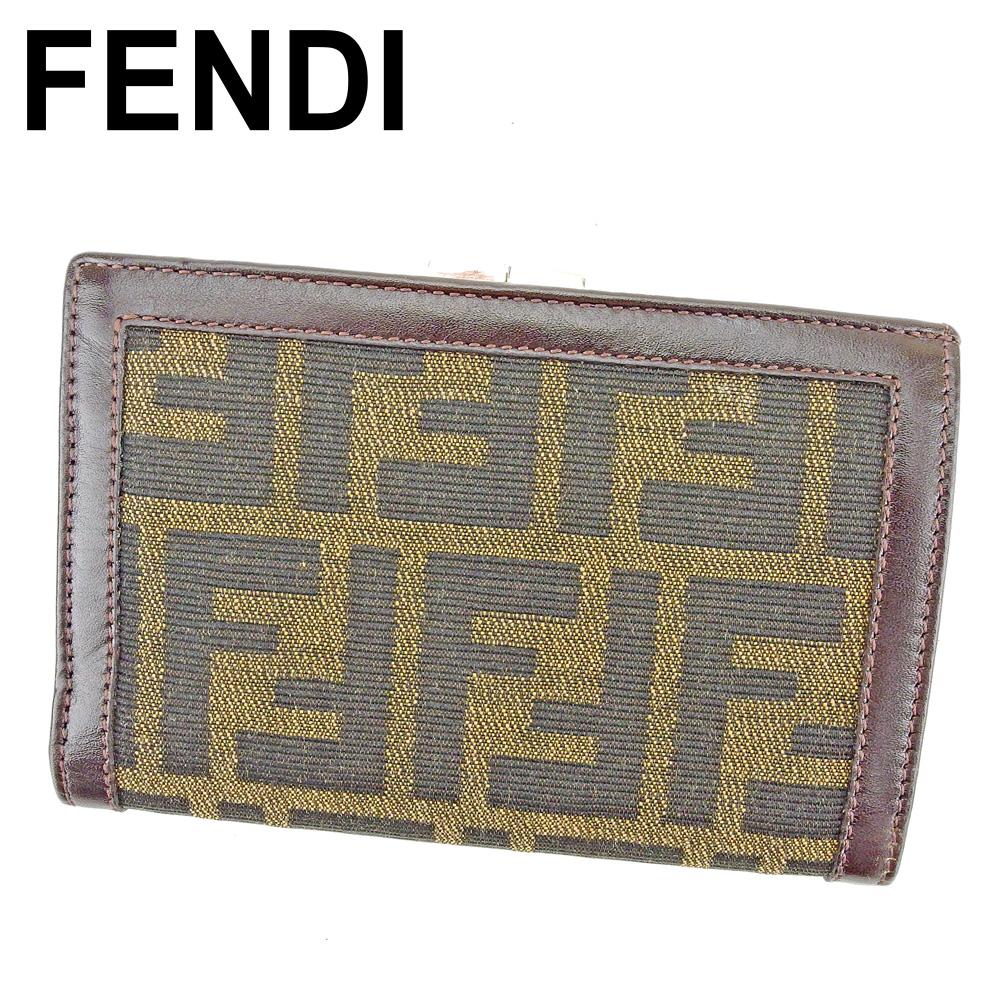 【中古】 フェンディ FENDI がま口 財布 二つ折り レディース メンズ ズッカ ブラウン ブラック ベージュ シルバー キャンバス×レザー 人気 セール P876
