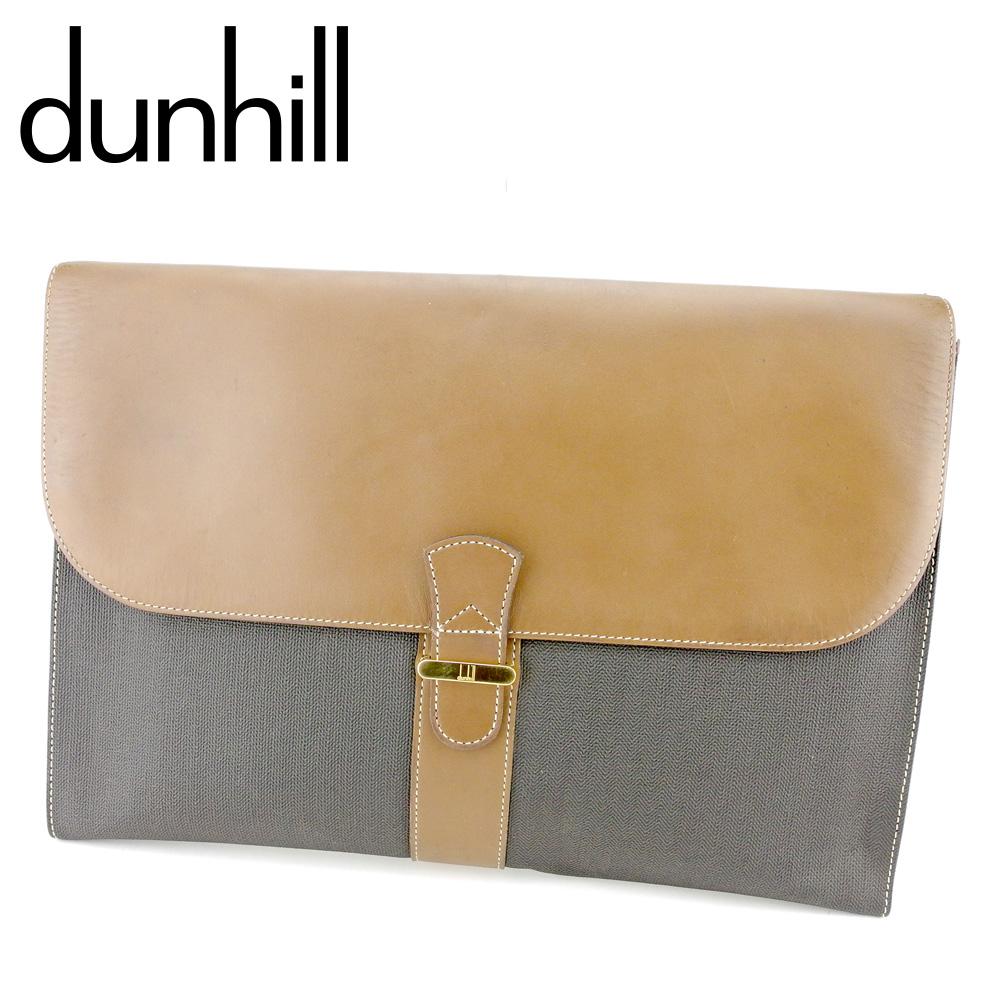 【中古】 ダンヒル dunhill ビジネスバッグ ブリーフケース クラッチバッグ メンズ ヘリンボーン ブラック ブラウン ゴールド PVC×レザー 人気 セール P883