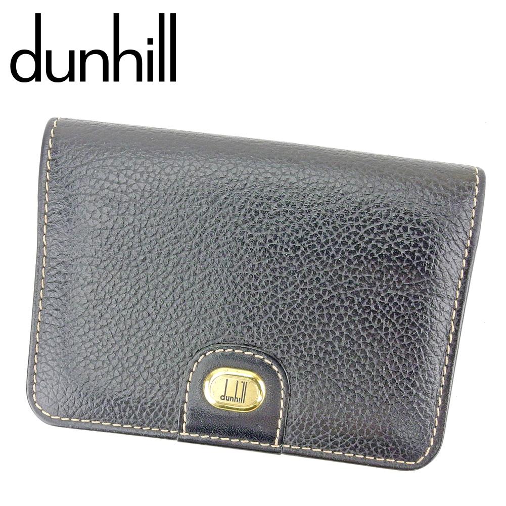 【中古】 ダンヒル dunhill カードケース 名刺入れ メンズ ブラック ゴールド レザー P887 .