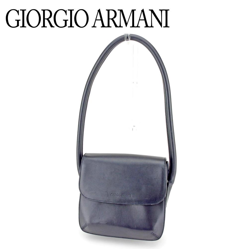 【中古】 ジョルジオ アルマーニ GIORGIO ARMANI ショルダーバッグ ワンショルダー バッグ レディース ロゴ ネイビー レザー 人気 セール P898