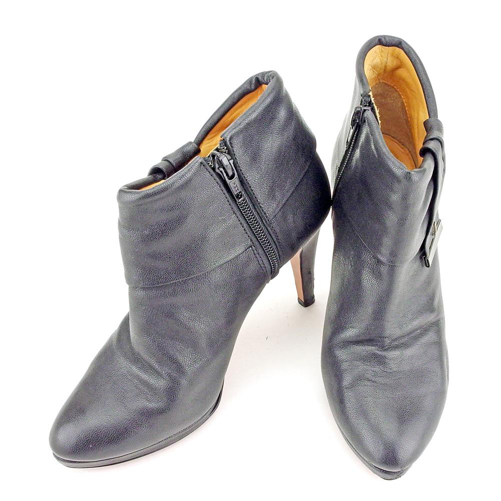 【中古】 ランバン オン ブルー LANVIN en Bleu ブーツ シューズ 靴 レディース ♯21ハーフ ショート ブーティ ブラック ゴールド P903