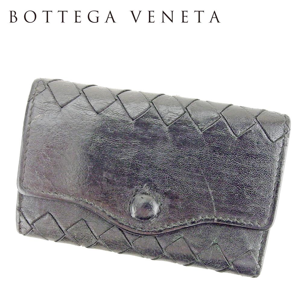 【中古】 ボッテガ ヴェネタ BOTTEGA VENETA キーケース 5連キーケース レディース メンズ イントレチャート ブラック ゴールド レザー 人気 セール P909