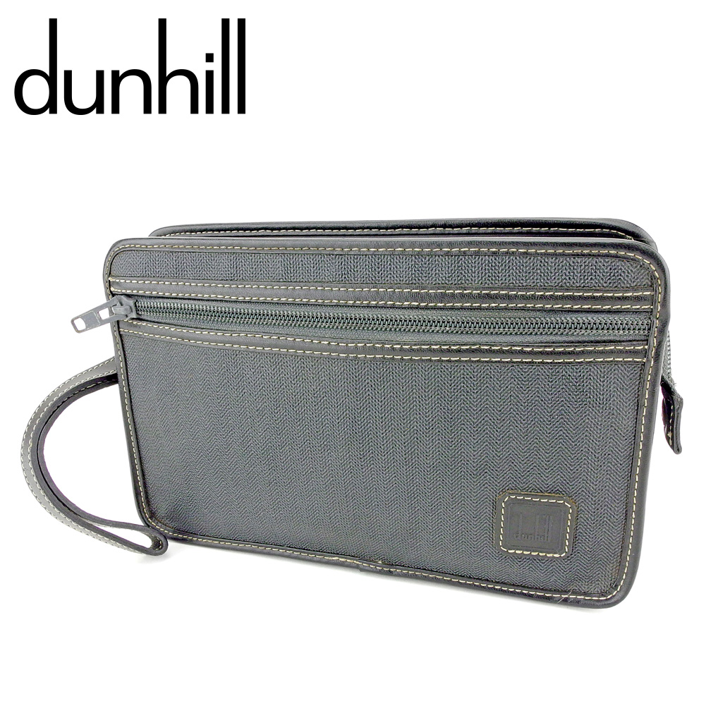 【中古】 ダンヒル dunhill クラッチバッグ セカンドバッグ メンズ ヘリンボーン ブラック グレー 灰色 PVC×レザー 訳あり セール P920