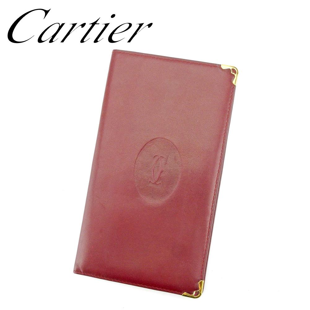 【中古】 カルティエ Cartier 長札入れ 札入れ レディース メンズ マストライン ボルドー ゴールド レザー 人気 セール P922