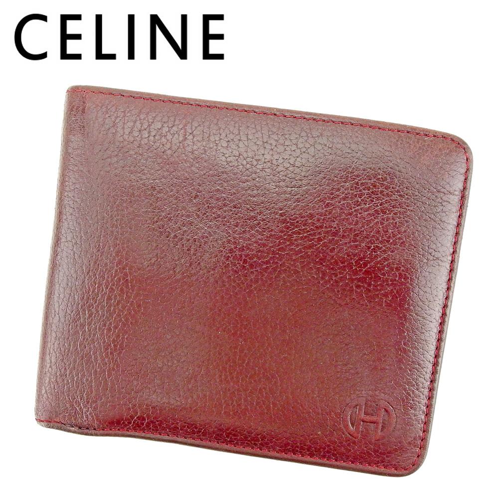 【中古】 セリーヌ CELINE 二つ折り 財布 レディース メンズ ビットマーク ボルドー レザー 人気 良品 P927