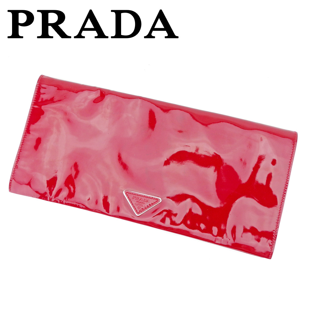 【中古】 プラダ PRADA クラッチバッグ セカンドバッグ レディース  レッド エナメルレザー 人気 セール T5332