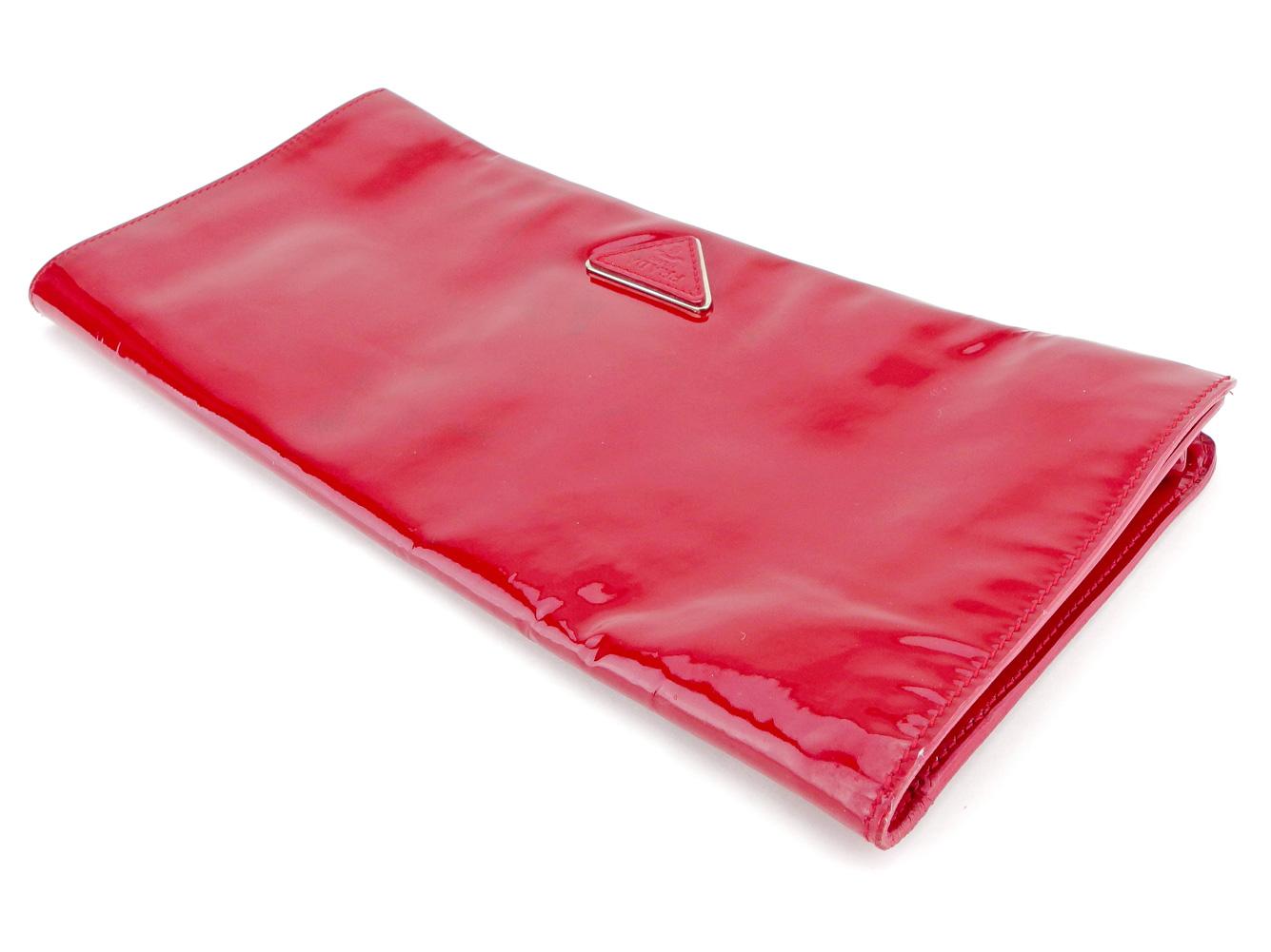 b93a0476bdf5 Prada PRADA clutch bag second bag Lady's red enamel leather popularity sale  T5332.