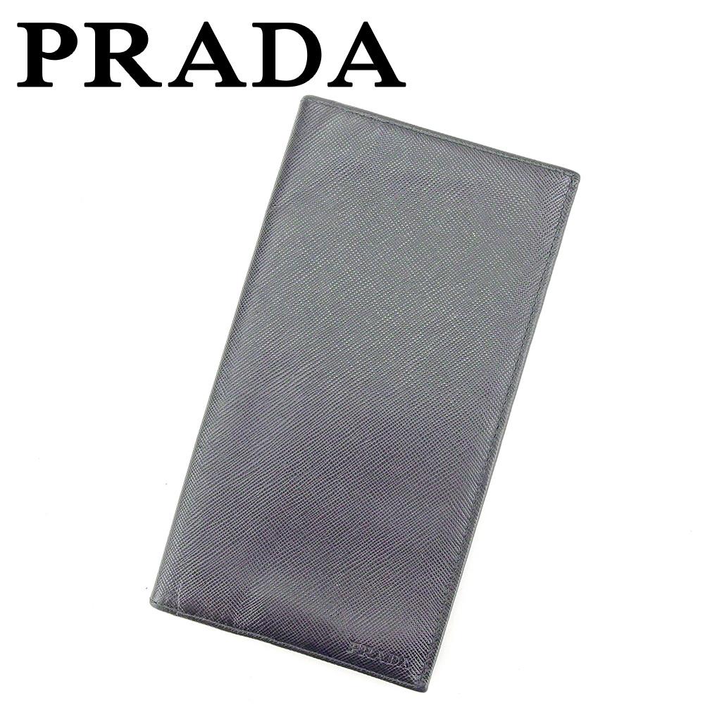 【中古】 プラダ PRADA 長札入れ 札入れ メンズ ブラック サフィアーノ レザー T9333 .