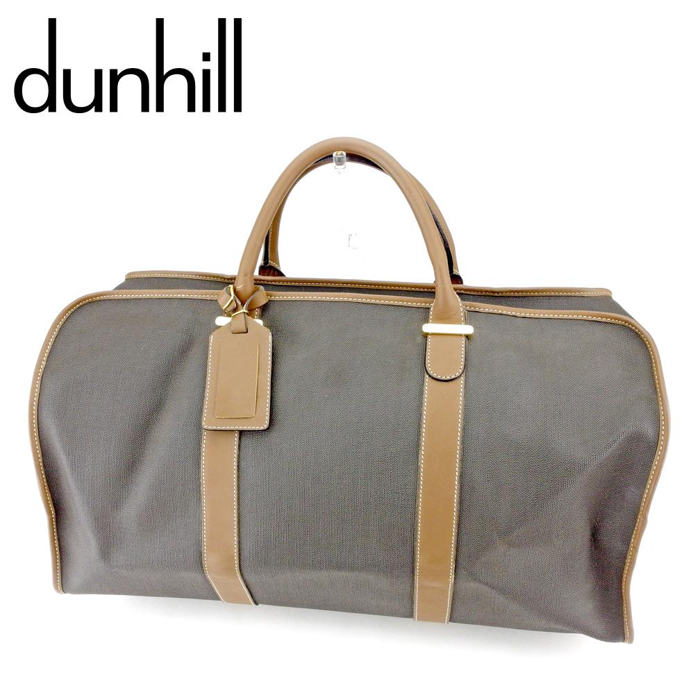 【中古】 ダンヒル dunhill ボストンバッグ トラベルバッグ 旅行用バッグ メンズ ヘリンボーン ブラック ブラウン ゴールド PVC×レザー 人気 良品 T9345