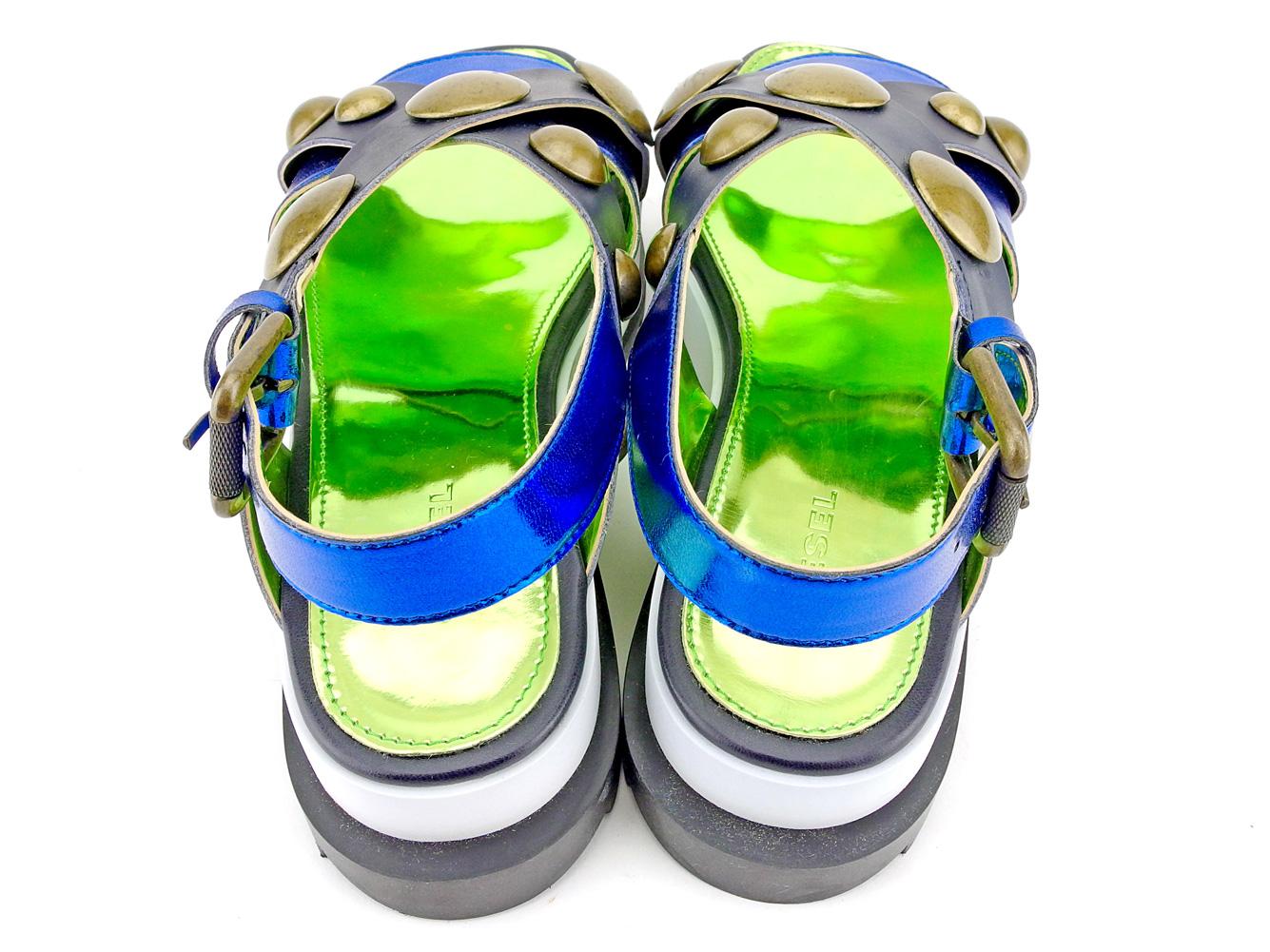 【中古】 ディーゼル DIESEL サンダル シューズ 靴 レディース ♯37 プラットフォーム スタッズ ネイビー ブルー ホワイト 白系 レザー×エナメルレザー T9349 .