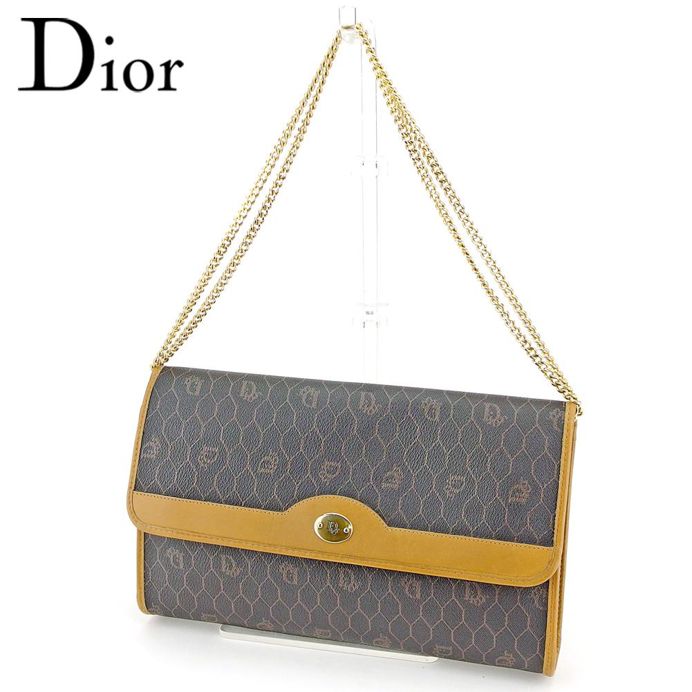 【中古】 ディオール Dior 2WAY ショルダーバッグ チェーンショルダー レディース オールドディオール ロゴ柄 ブラック ブラウン ベージュ ゴールド PVC×レザー レア ヴィンテージ T9350