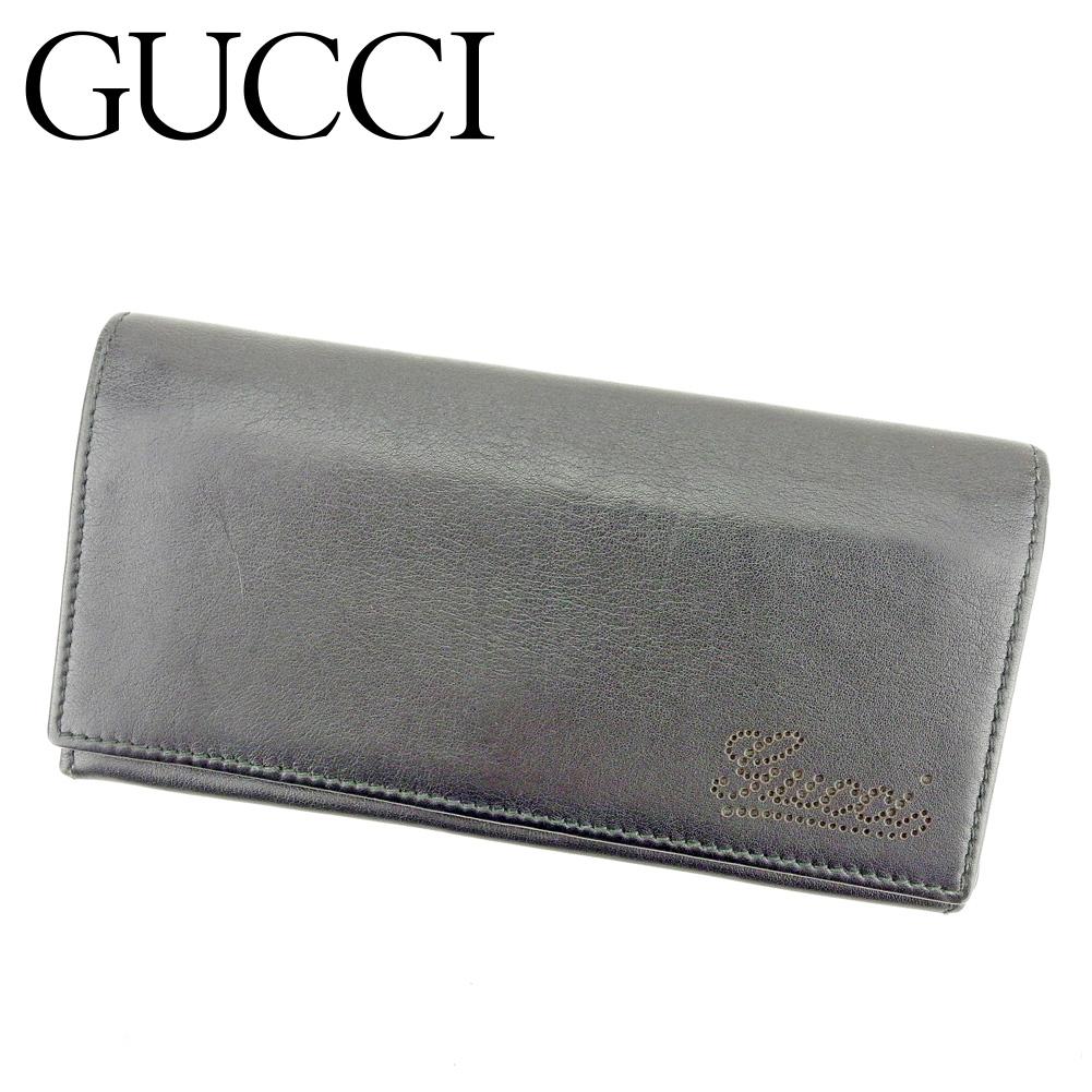 【中古】 グッチ GUCCI 長財布 ファスナー付き 財布 レディース メンズ パンチングロゴ ブラック レザー 美品 セール T9354