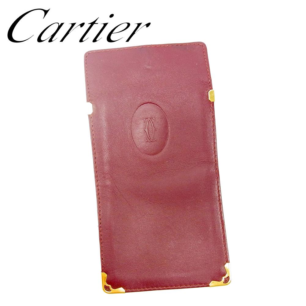【中古】 カルティエ Cartier メガネケース サンゲラスケース ケース レディース メンズ マストライン ボルドー レザー 人気 セール T9470