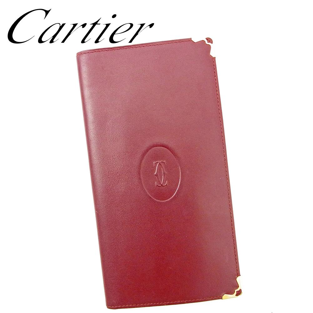 【中古】 カルティエ Cartier 長札入れ 長財布 レディース メンズ マストライン ボルドー レザー 人気 良品 T9471