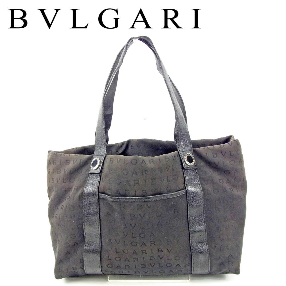 【中古】 ブルガリ BVLGARI トートバッグ ワンショルダー レディース メンズ ロゴマニア ブラック キャンバス×レザー 人気 セール T9478