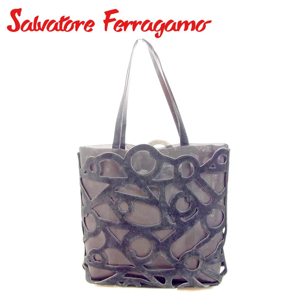 【中古】 サルヴァトーレ フェラガモ Salvatore Ferragamo トートバッグ ワンショルダー メンズ可  ブラック スエード×メッシュ 人気 セール T9488