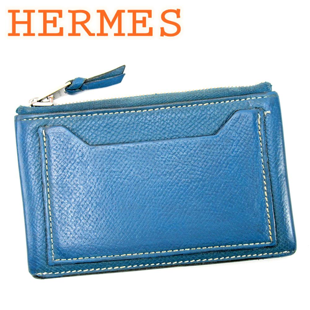 【中古】 エルメス HERMES コインケース 小銭入れ レディース メンズ  ブルー レザー 人気 セール E1412