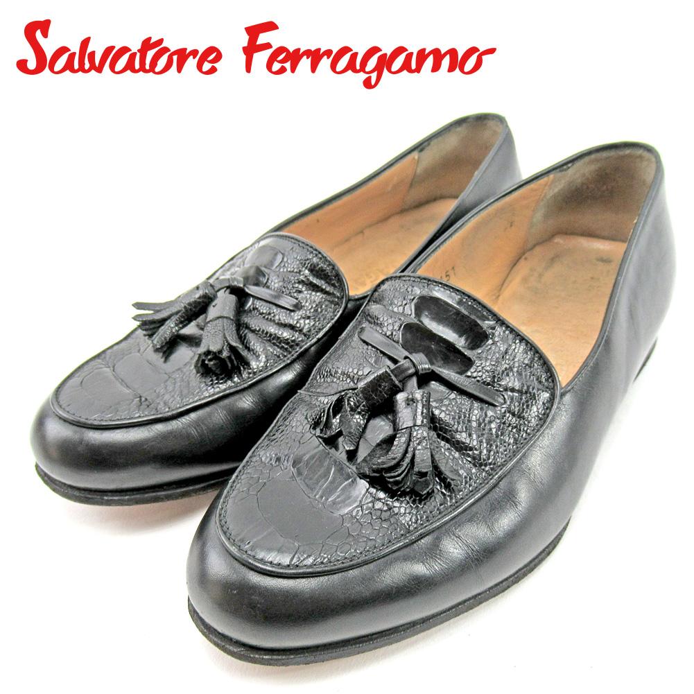 【中古】 サルヴァトーレ フェラガモ Salvatore Ferragamo ローファー シューズ 靴 レディース #5 ブラック レザー E1417