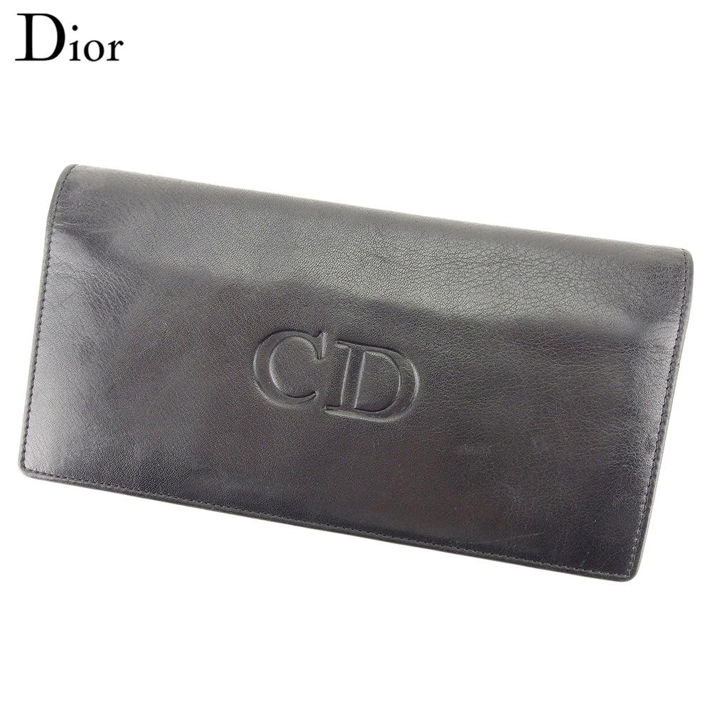 【中古】 ディオール Dior 長財布 ファスナー付き 財布 ブラック レッド レディース メンズ ユニセックス レザークリスマス プレゼント サイフ 小物 ブランド 人気 贈り物 財布 収納 在庫一掃 迅速発送 在庫処分 男性 女性 良品 春 1点物 T9725