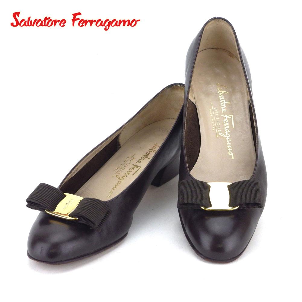 【中古】 サルヴァトーレ フェラガモ Salvatore Ferragamo パンプス シューズ 靴 レディース ♯6ハーフC ラウンドトゥ ブラウン ゴールド レザー T9788