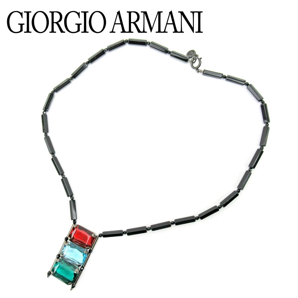 【中古】 ジョルジオ アルマーニ GIORGIO ARMANI ネックレス アクセサリー レディース ブラック レッド ブルー グリーン T9848 .