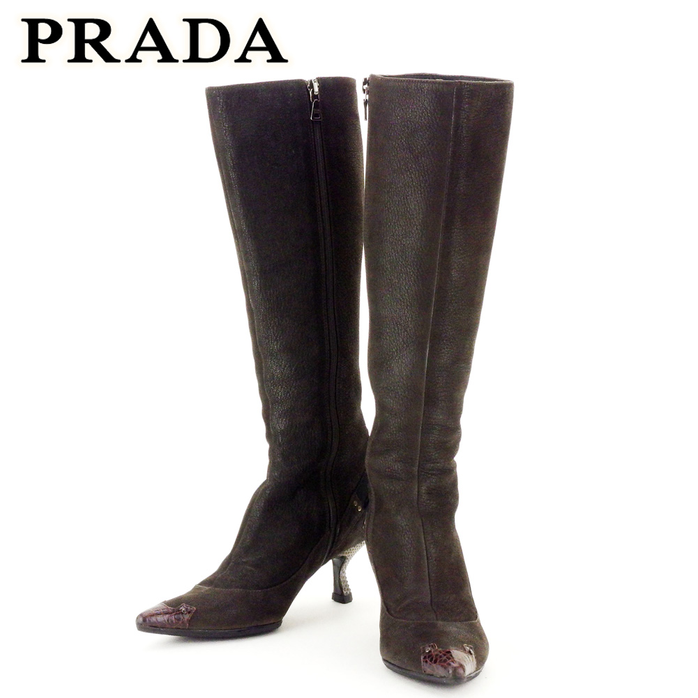 【中古】 プラダ PRADA ブーツ シューズ 靴 レディース ♯34ハーフ リボン ブラウン ブラック系 レザー I553 .