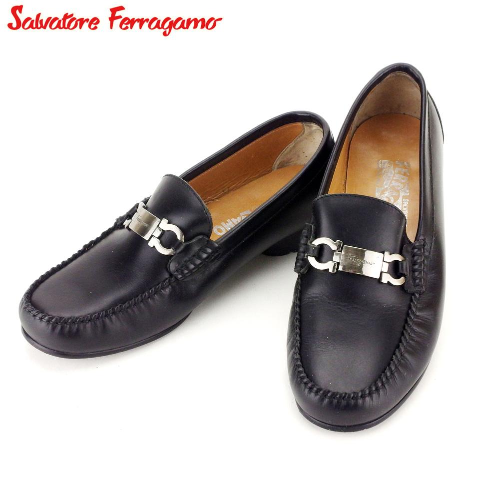 【中古】 サルヴァトーレ フェラガモ Salvatore Ferragamo ローファー シューズ 靴 メンズ ♯39 ブラック シルバー レザー T9304 .
