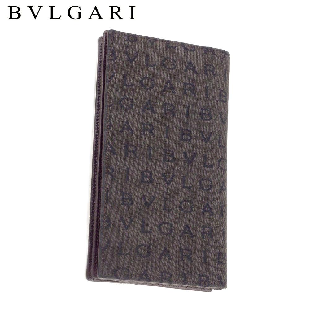 【中古】 ブルガリ BVLGARI 長札入れ 札入れ メンズ ブラウン ブラック系 キャンバス×レザー T9319 .