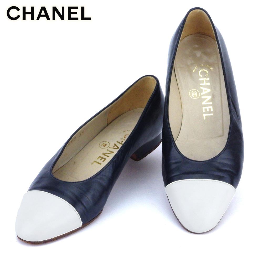 【中古】 シャネル CHANEL パンプス シューズ 靴 レディース ♯35ハーフEF ラウンドトゥ ネイビー ホワイト 白 レザー T10414