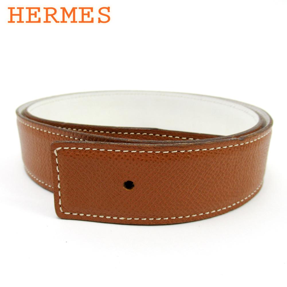 【スーパーSALE】 【20%オフ】 【中古】 エルメス HERMES ベルト ♯70サイズ レディース メンズ ブラウン ホワイト 白 レザー T10181