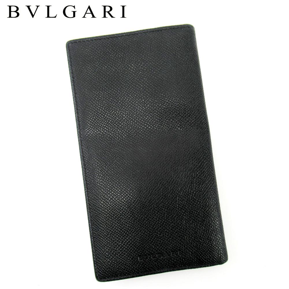 【中古】 ブルガリ BVLGARI 長札入れ 長財布 さいふ レディース メンズ ブラック レザー T10191