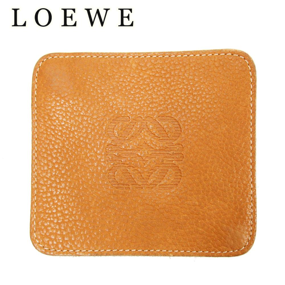 【中古】 ロエベ LOEWE コインケース 小銭入れ レディース ライトブラウン レザー T10247