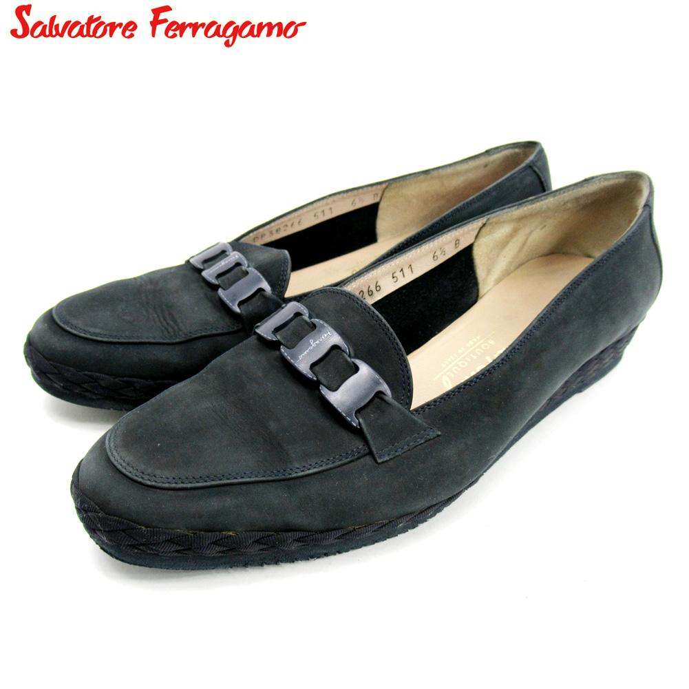 【中古】 サルヴァトーレ フェラガモ Salvatore Ferragamo シューズ 靴 レディース #6ハーフ ネイビー スエード T10253