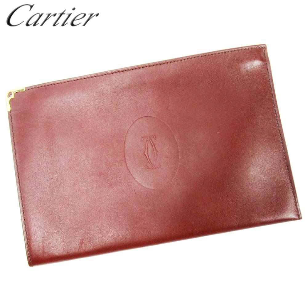【中古】 カルティエ Cartier ポーチ ウエストポーチ レディース メンズ ボルドー レザー T10294
