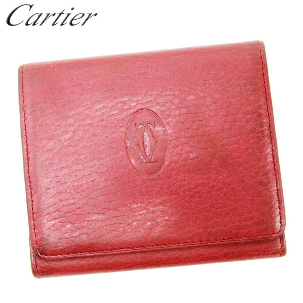 【中古】 カルティエ Cartier カードケース 名刺入れ レディース メンズ ボルドー レザー T10299 .
