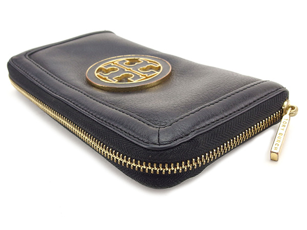 2beaa091e4a Tolly Birch Tory Burch long wallet wallet round fastener Lady s logo plate  black X gold leather popularity sale T1760