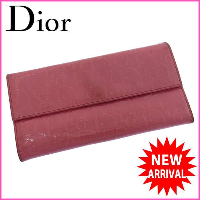 【中古】 【送料無料】 クリスチャン・ディオール Christian Dior 長財布 ファスナー 二つ折り レディース アルティメット エナメルトロッター ピンク エナメルレザー (あす楽対応) 人気 B600