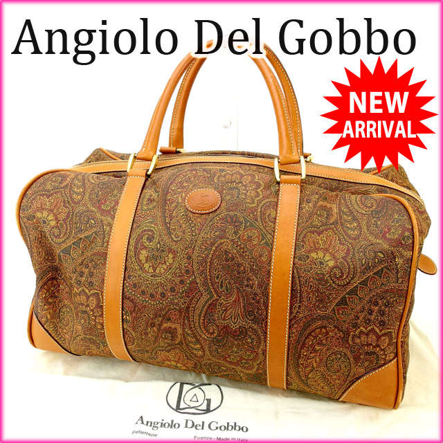 Angiolo Del Gobbo 보스턴백 맨즈가능 페이즈리캐바스×레더(대응) 우량품 인기 C1326 브랜드품