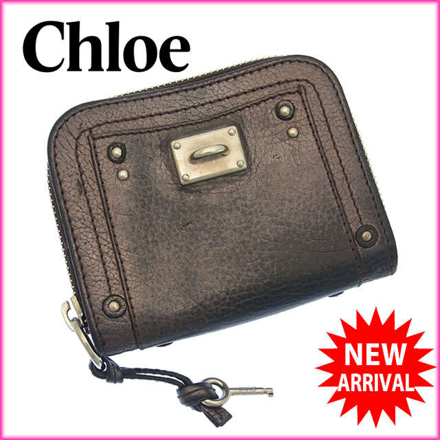 【中古】 【送料無料】 クロエ Chloe 二つ折り財布 ラウンドファスナー メンズ可 パディントン メタリックブラウン×シルバー レザー (あす楽対応) 人気 C1618